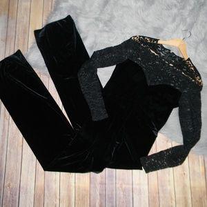 Black Velvet Lace Jumpsuit
